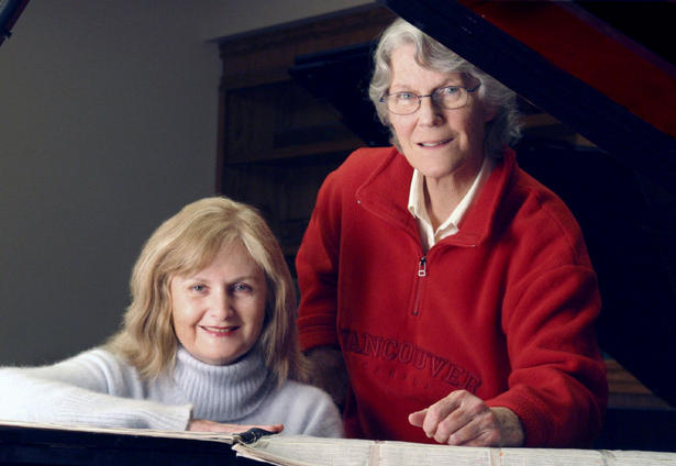 Ann Southam with Christina Petrowska Quilico, at the piano. Photo by André Leduc.