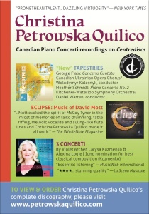 3 New Piano CDs by Christina Petrowska Quilico from Centrediscs: Tapestries, Eclipse & 3 Concerti