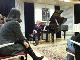 Christina answers questions after an intimate performance of Visions excerpts at the Canadian Music Centre.