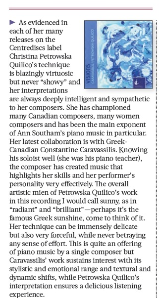 Review of Visions in the latest issue of The WholeNote magazine